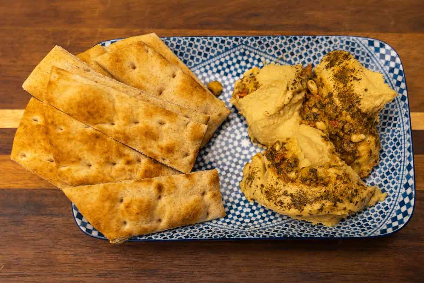 hummus and pita bread together make up a complete vegan protein