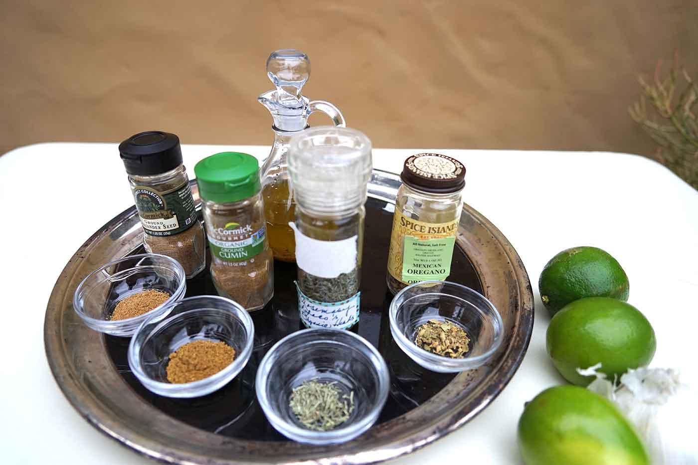 vegan garlic lime salad dressing ingredients on a table