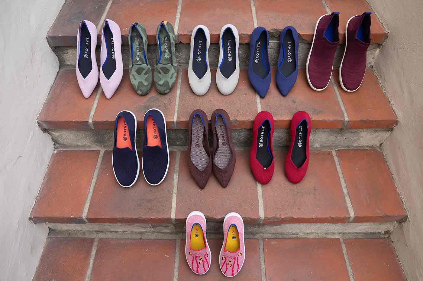 Rothy's shoes made of recycled bottles in a range of colors and style from petal pink to olive flax to truffle python and a children's pink flamingo
