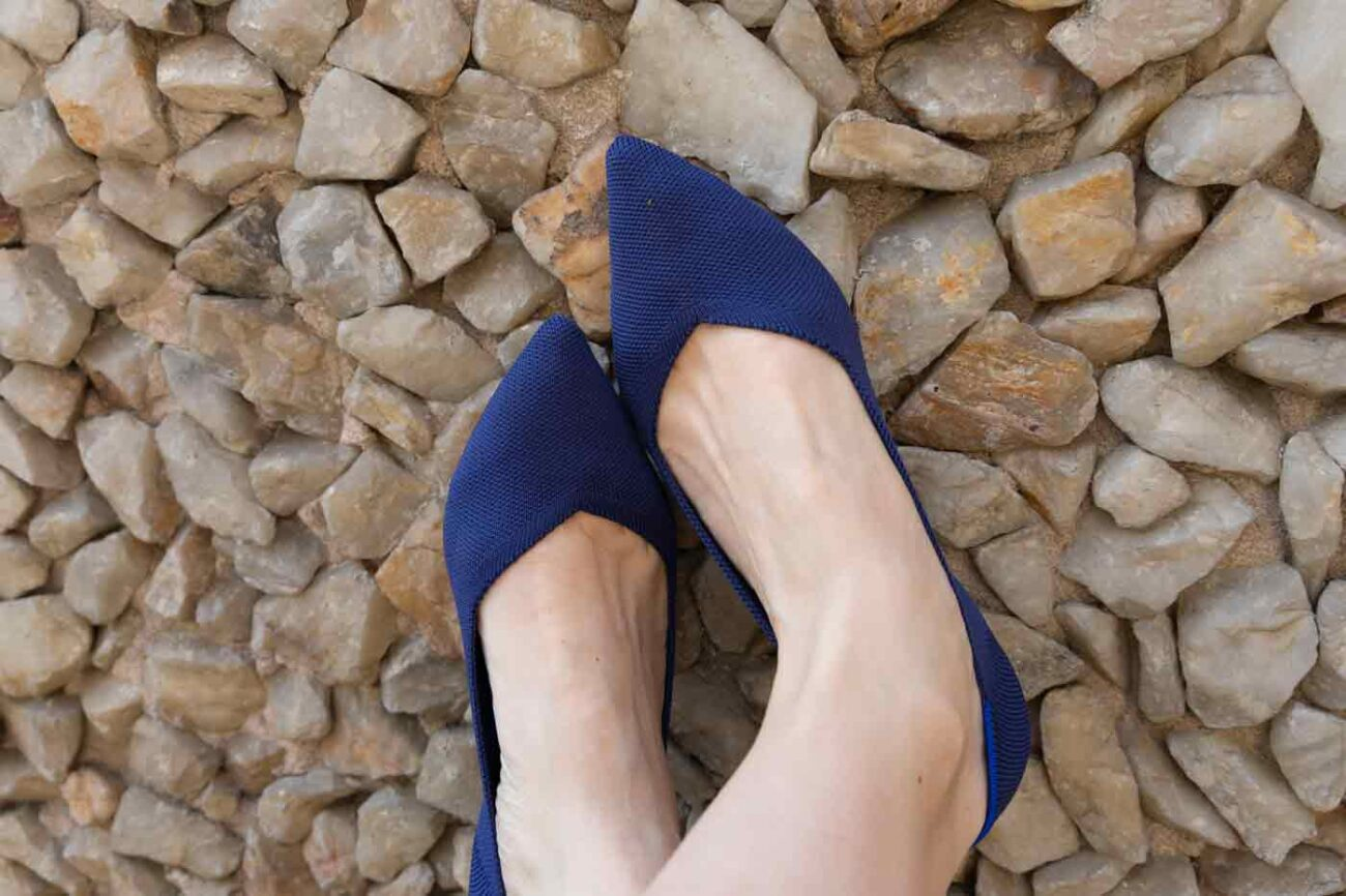 Rothy's vegan shoes The Point in maritime blue