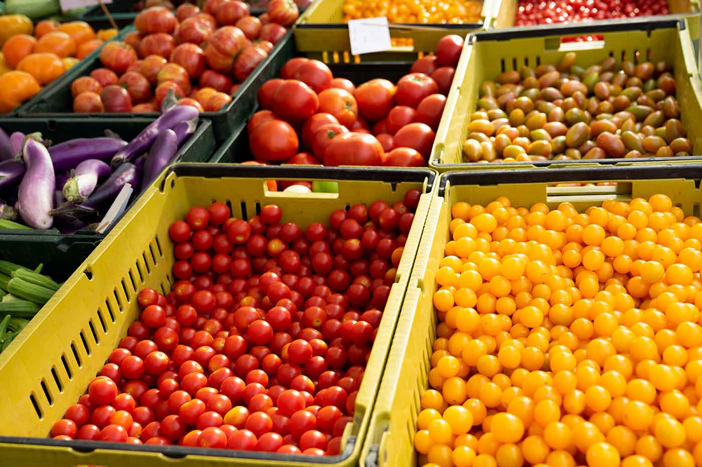 tomatoes at farmers market South Pasadena California
