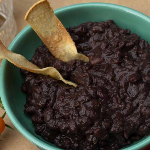 completed black bean recipe made with balsamic vinegar and port wine.