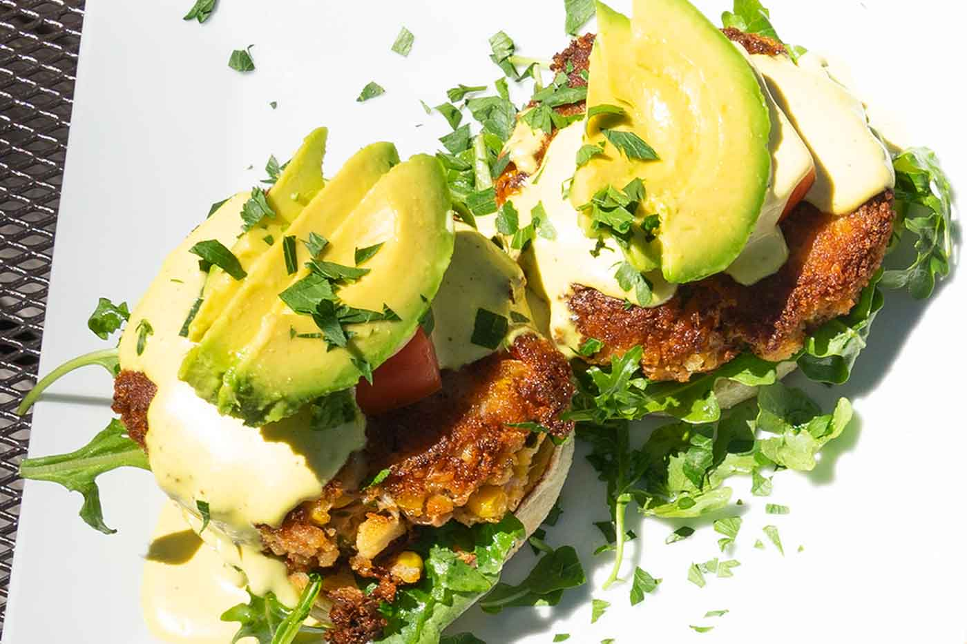 vegan eggs Benedict crab cakes from Plant Food Supper Club in Idyllwild California