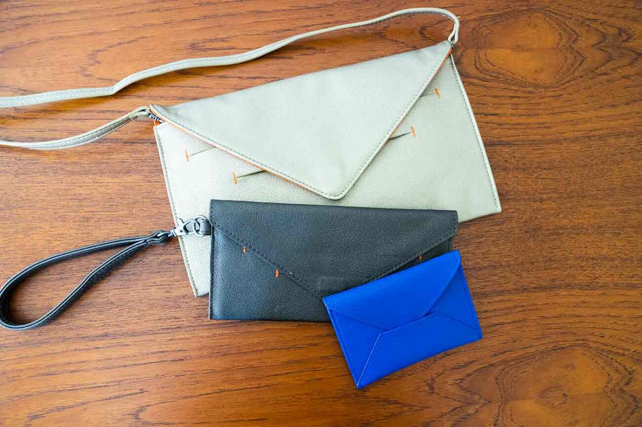 Canope Verde vegan bags have a smart textured finish with one in gold another in graphite and a card case in bright blue