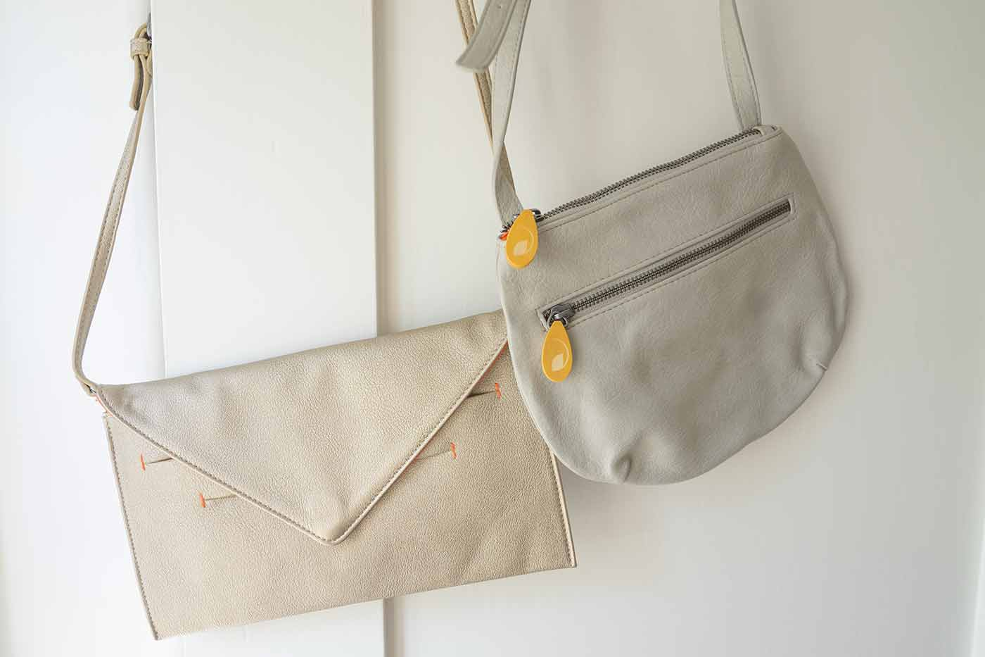 vegan cross body bags in gold and light grey from Canopy Verde