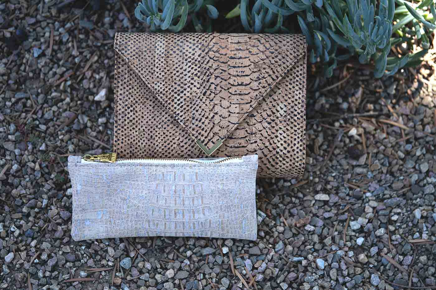 cork crossbody crock embossed bag and crock dyed clutch from Willis Vegan Store