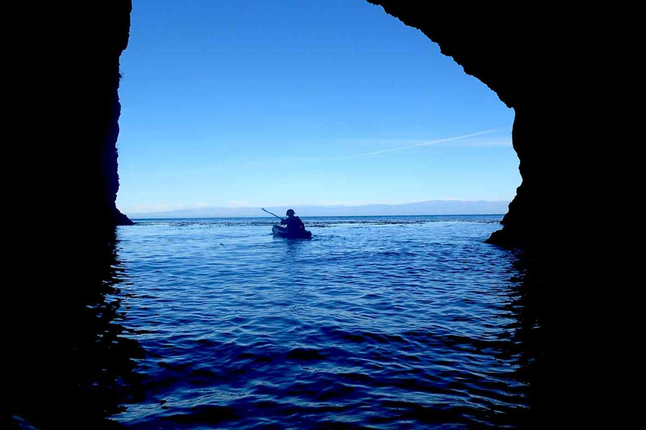 kayaking through sea caves on Santa Cruz Island in California