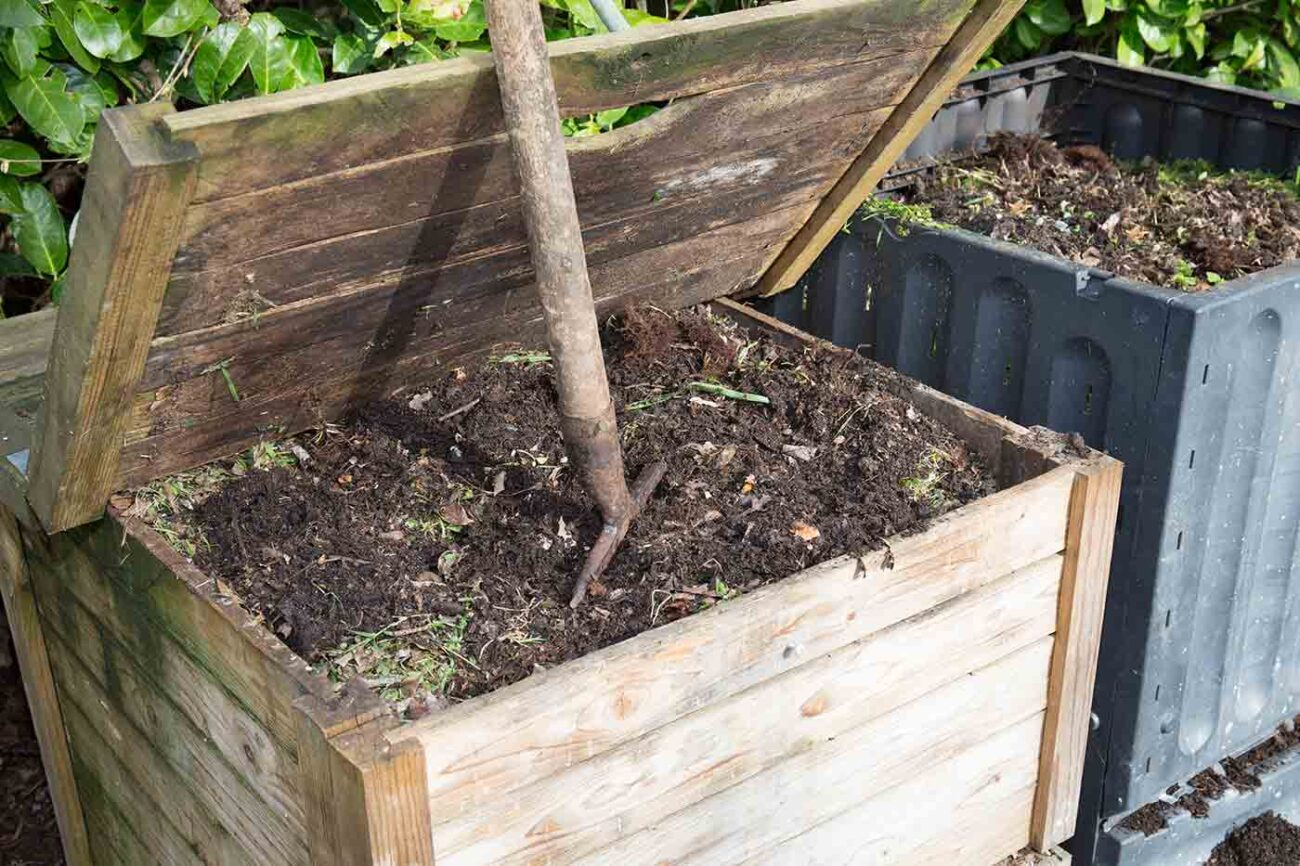 compost bin with compost inside