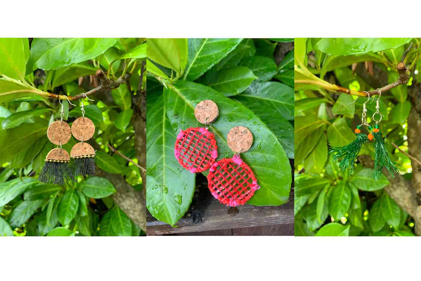 earrings made from produce bags and cork