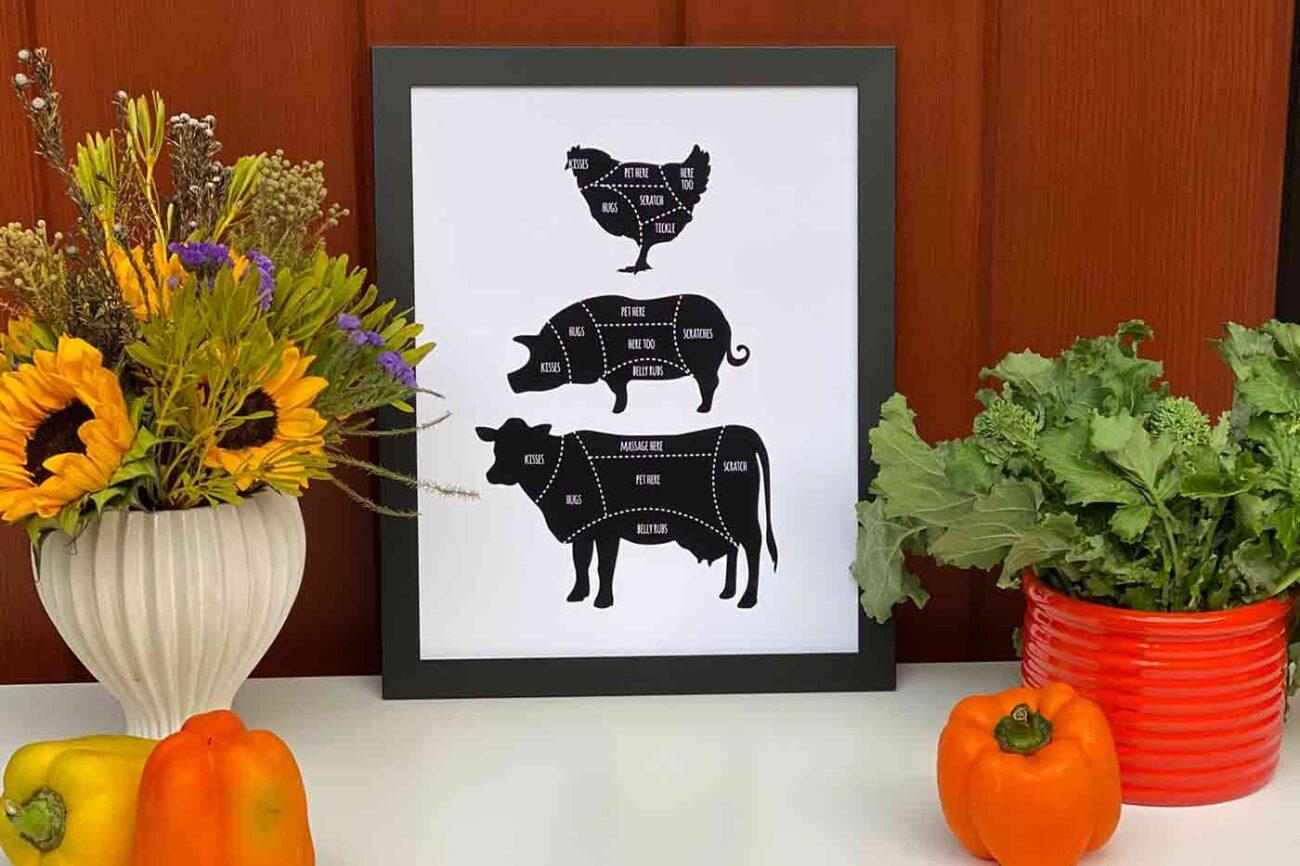 vegan butcher poster vegan wall art