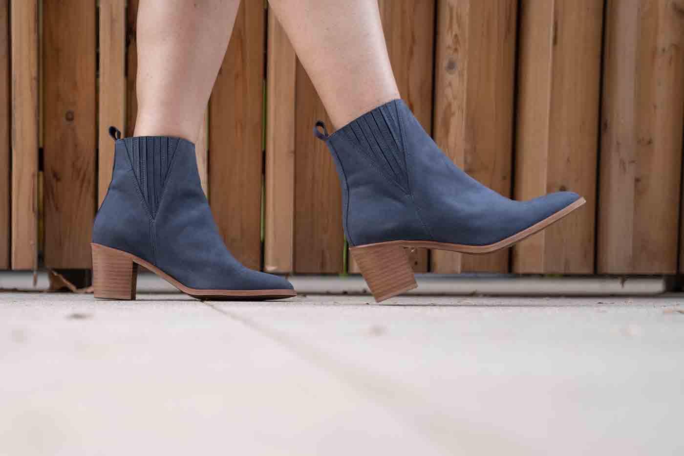 Sara bootie from Novacas vegan shoes in bloe
