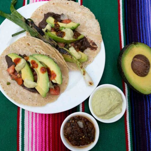 Tacodeli freakin' vegan recipe made at home with salsas and avocado