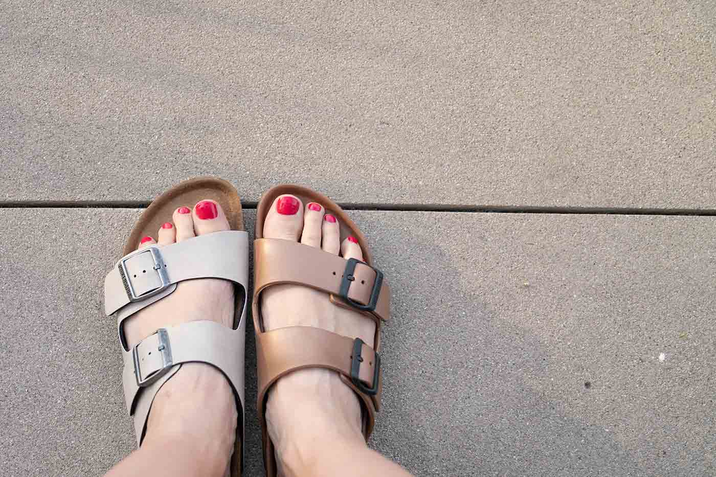 rubber and vegan leather Birkenstocks side by side