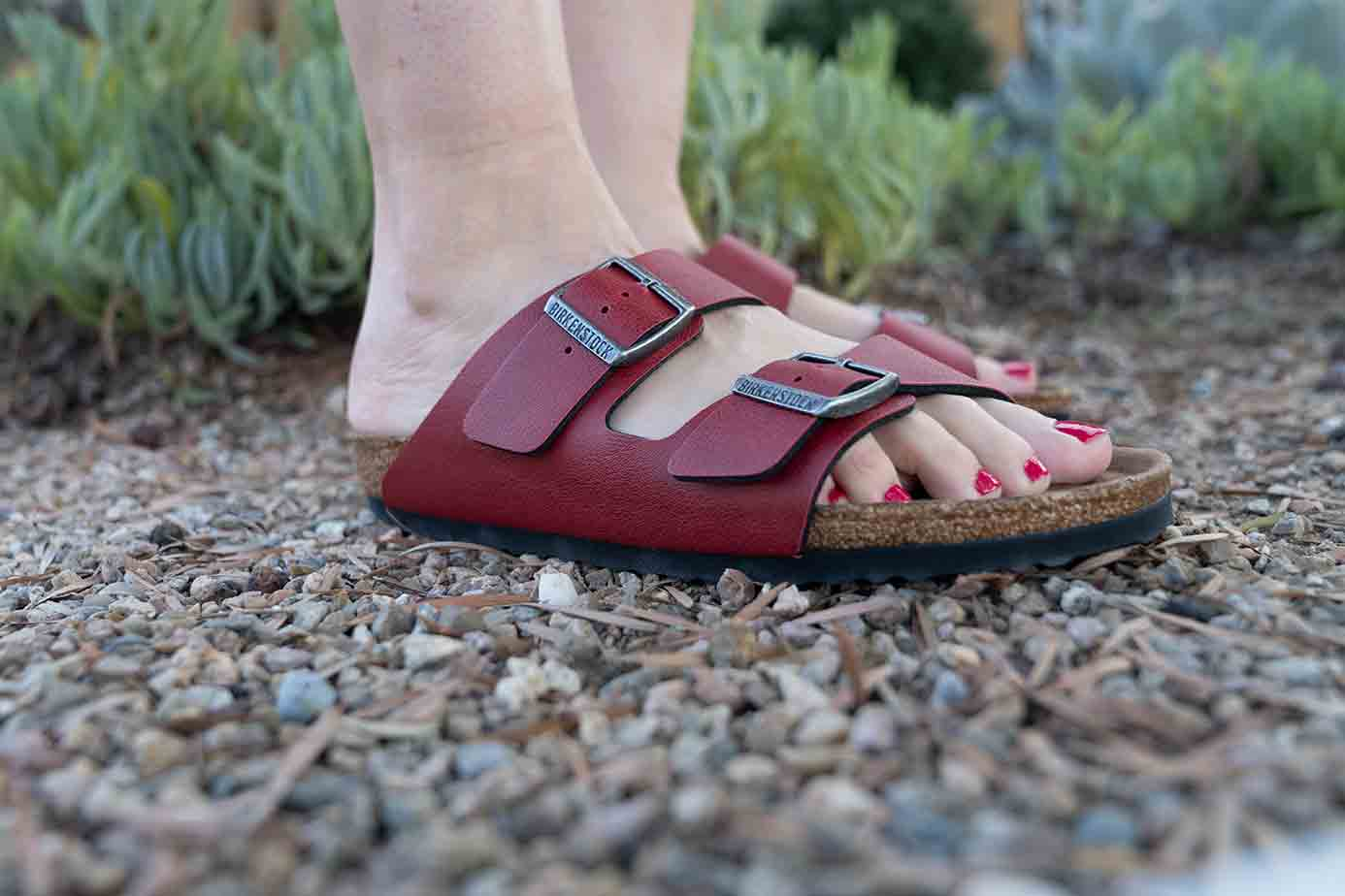 red vegan Birkenstock in the famous Arizona design