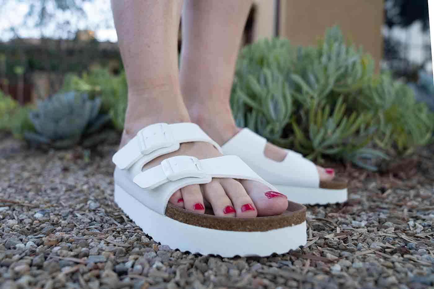 white platform vegan Birkenstock sandals in the Arizona style