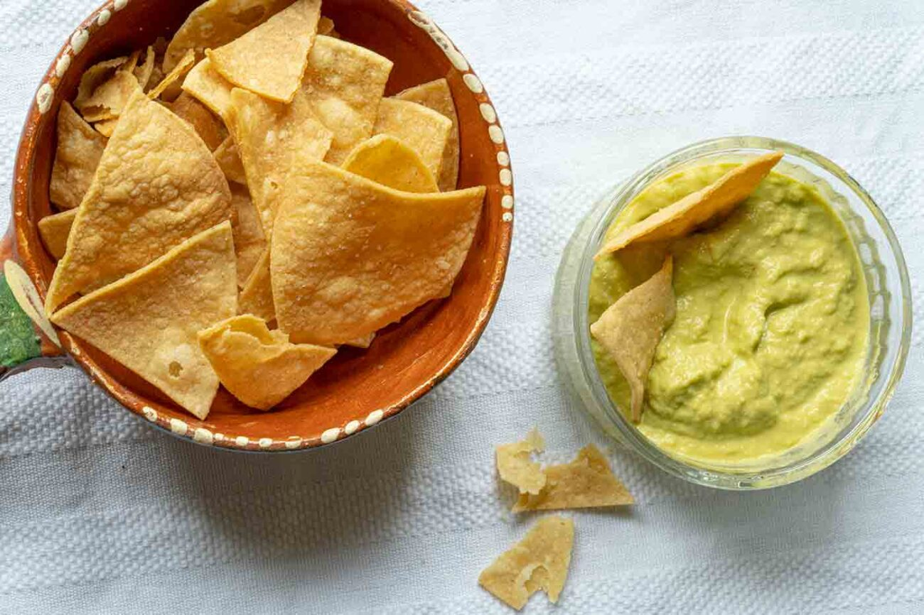 salsa dona in a bowl next to chips