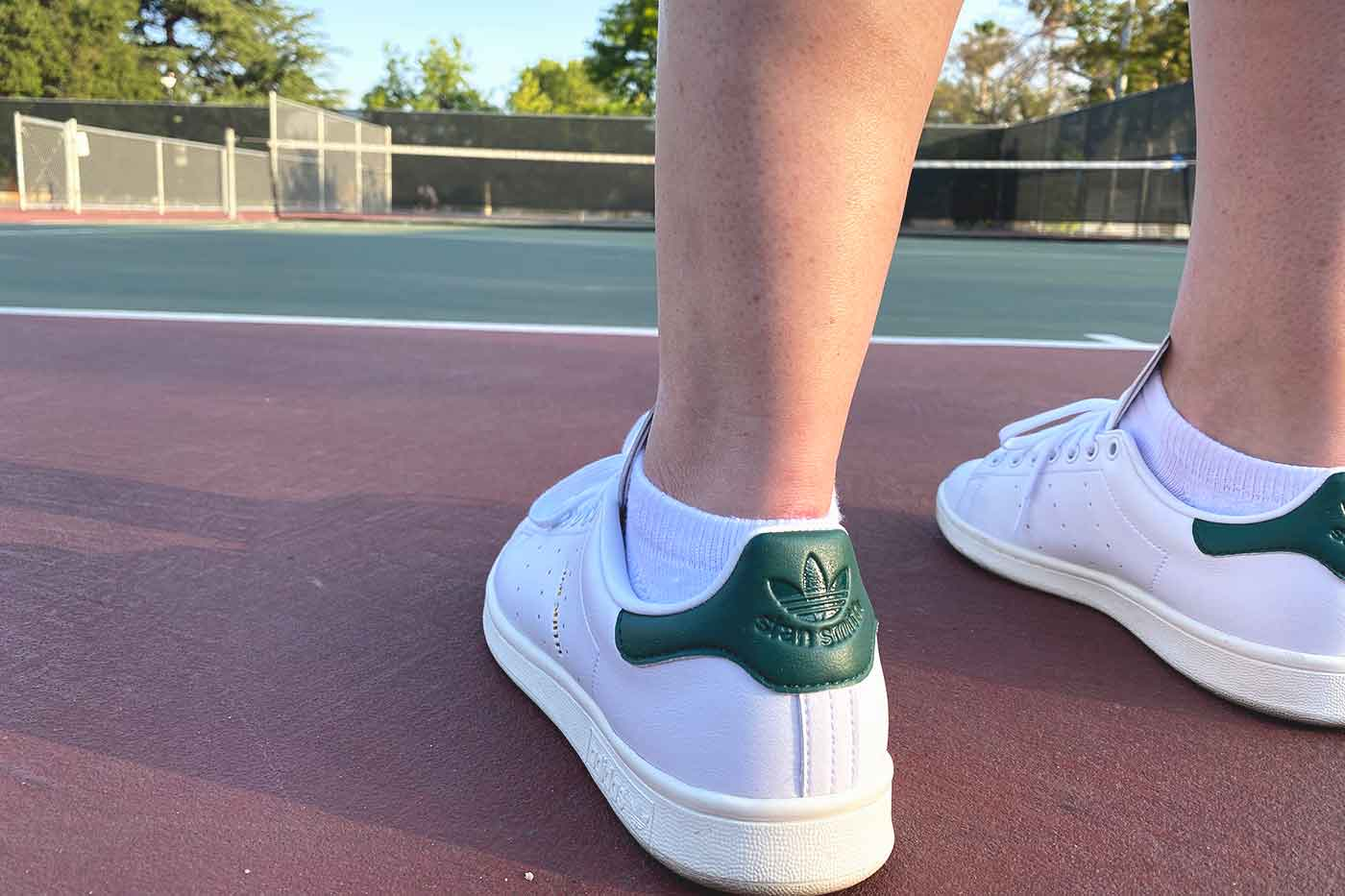 vegan Stan Smith Adidas green color logo at the heel